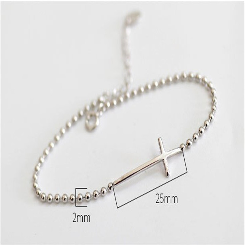 Jsmpfy 100% 925 Sterling Silver Bead Chain ձեռնաշղթա և - Նուրբ զարդեր - Լուսանկար 2