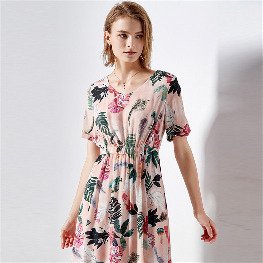 Hodisytian Elegant Women Dress A Line Floral Print Robe Casual
