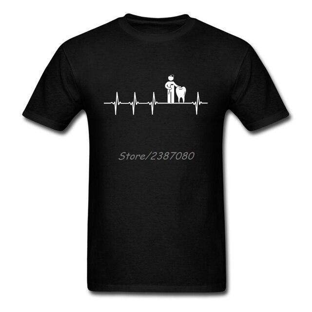 8b8f76f839 Amor Dentista Trabalho T Camisa de Algodão de Manga Curta Camisetas  Personalizadas Para Homens Moderno Simples