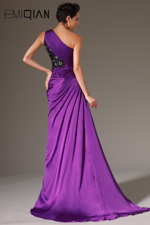 Livraison gratuite nouvelle Sexy une épaule haute fente violet mousseline de soie robes de soirée robes de soirée - 2