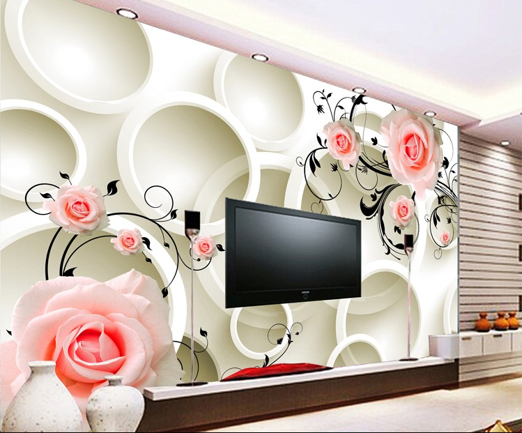 can customized Rose, abstract circle large 3d mural wallpaper wall stickers waterproof TV wall dinning room bedroom book knowledge power channel creative 3d large mural wallpaper 3d bedroom living room tv backdrop painting wallpaper
