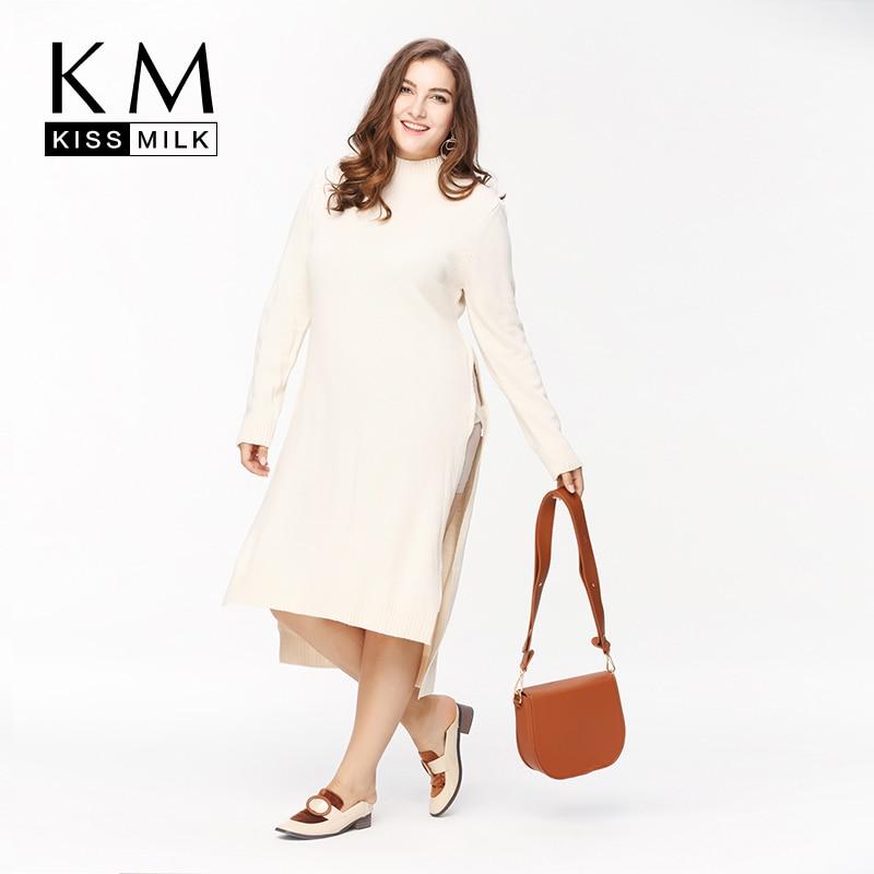 Kissmilk Plus La Taille Nouveau Mode Femmes Vêtements Solide Côté de Split Casual Tops O-cou À Manches Longues Grande Taille Long Pull 3XL 4XL 5XL