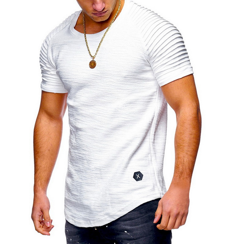 SHUJIN Short Sleeve Men   T     Shirt   Pleated Shoulder Slim   T  -  shirt   Men Longline Curved Skinny Hip Tshirt Streetwear Tops