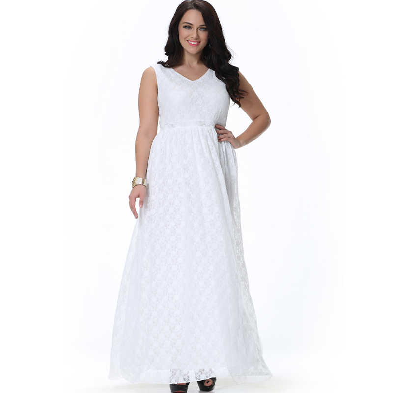 L-9XL Large Plus Size Women\'s Maxi Long Plum Floral Hollow Out Full White  Lace Dress Big Size Summer Solid Women Dresses MF6004