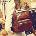 Vintage women backpacks 2016 Fashion Backpack Big Crown Wholesale Women Leather Backpack high quality College Bolso Famous Brand