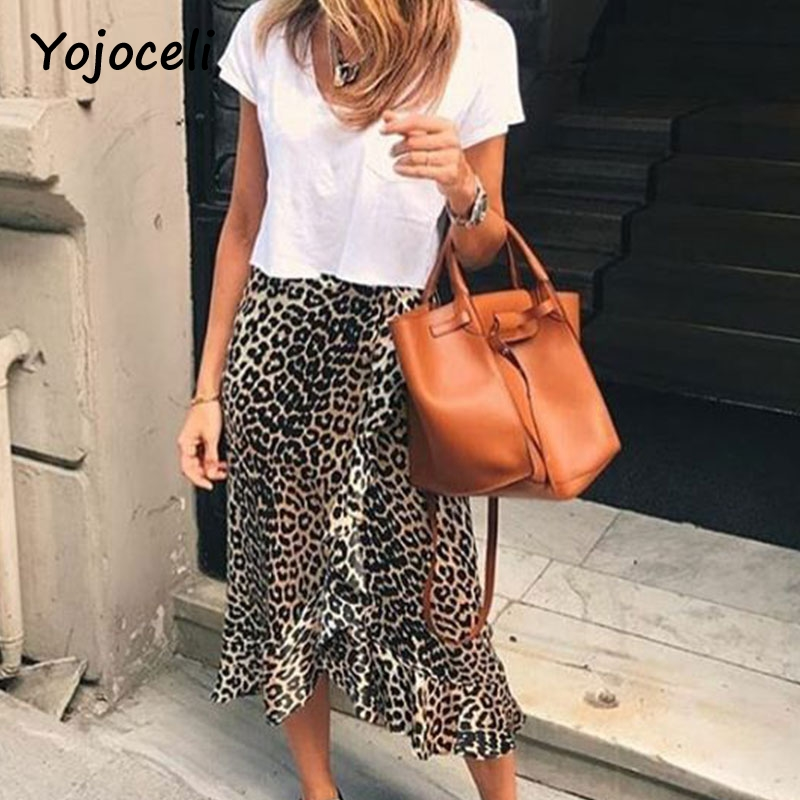 Yojoceli sexy leopard print ruffled falda inferior mujer asimétrica Fiesta club falda busto falda