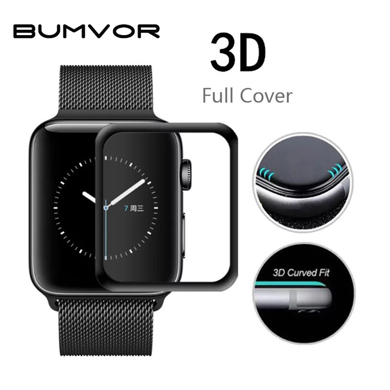 3D Curved Full Coverage Tempered Glass Protective Film For iwatch Apple Watch Series 1/2/3 38/42mm Full Screen Protector Cover [surface 3d full screen] smorss iphone x стальная пленка apple 10 x full glass curved film 3d горячее изгиб cold curved surface full screen film защитная пленка для мобильного телефона