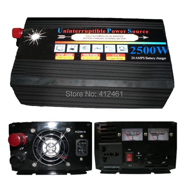 Peak 5000 Watt Normal 2500 Watt  Car Power Inverter 2500W With UPS Battery Charger Voltage Converter DC 12V To AC 220V car rear trunk cargo mat boot liner suitable rubber floor protector trunk tray mat anti slip for toyota prado 150 2009 2013