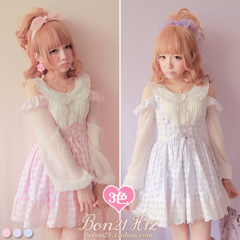 Princess sweet lolita dress Bobon21 limited edition embroidery laciness small strapless faux two piece one-piece dress d0993 кпб d 97 page 3