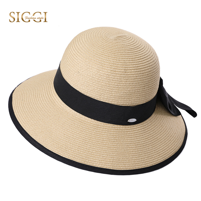 1e7f4753966 SIGGI Beach Summer Straw Sun Hat For Women Solid Chic Bowknot Decoration  Breathable Wide Brim Adjustable Female 99043