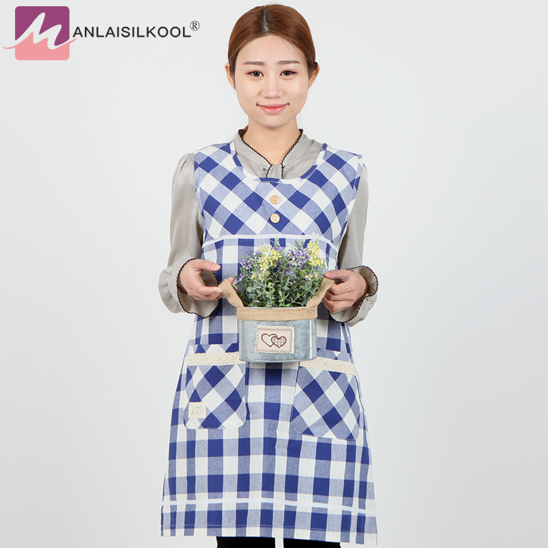 Apron korean bib cotton cartoon cute anti-fouling nail shop adult fashion sleeveless apron blue grid delantal cocina aprons ...