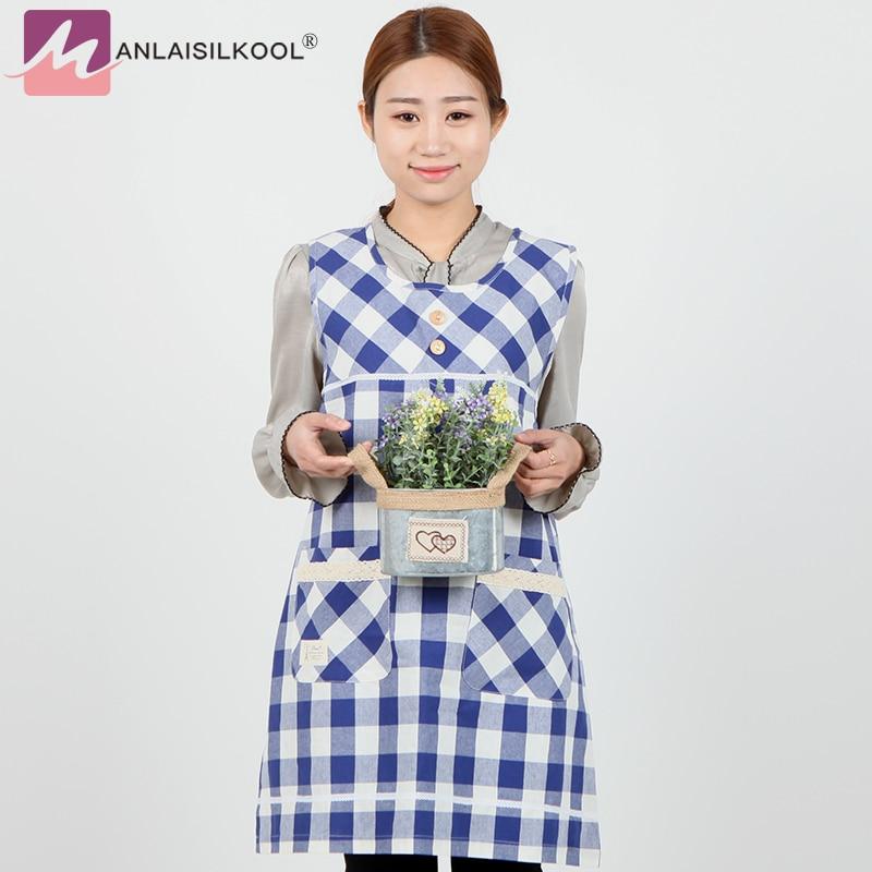 Apron korean bib cotton cartoon cute anti-fouling nail shop adult fashion sleeveless apron blue grid delantal cocina aprons ...