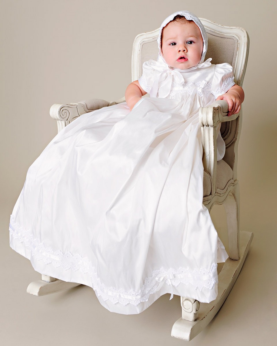 2016 Simple Puff Sleeve White/Ivory First Communion Dress Blessing Heirloom Christening Gown ...