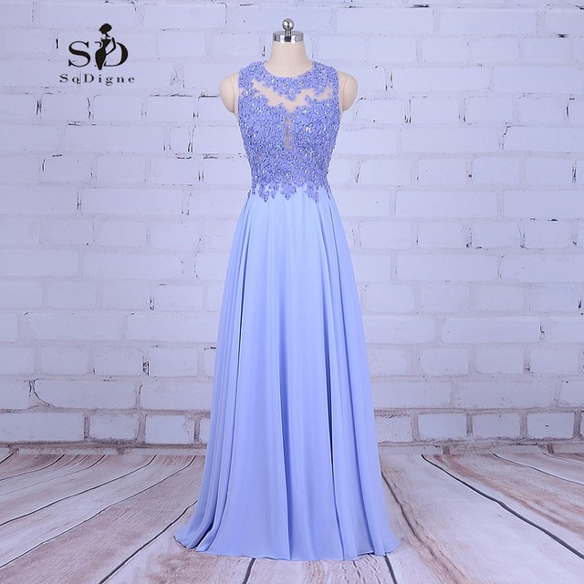 29803755a88b Vestito Chiffon in rilievo Vestito Da Promenade Lavender Lace Appliques  Festa di Laurea Abito Lungo Vestidos