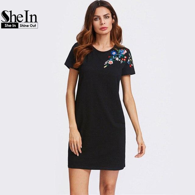 Шеин футболка платья для женщин Blossom Embroidered платье-майка Летние Платья повседневные Черные короткий рукав Shift Dress