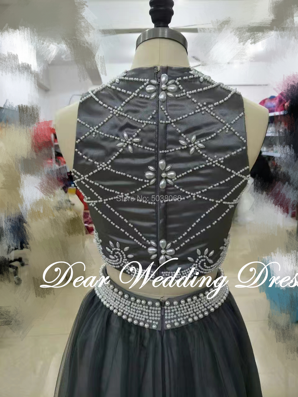 Real Pictures Two Pieces Evening Dresses Pearle Sexy Black Girl Dubai Prom Dress Major Beading  Party Gowns Robes robe de soiree