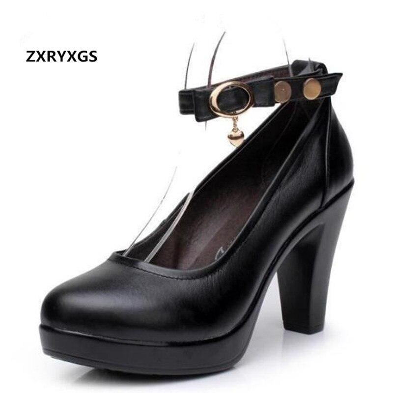 ZXRYXGS marque chaussures femme escarpins chaussures taille 33-43 nouveau 2018 printemps noir travail vrai cuir chaussures talons hauts 6 cm et 8 cm