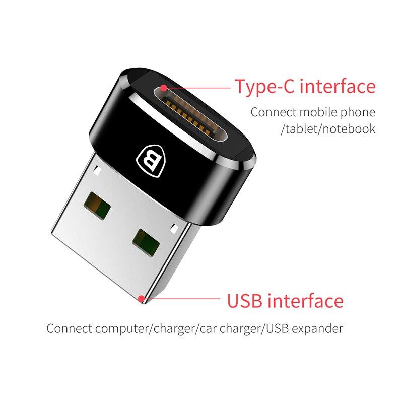 Baseus USB Stecker auf USB Typ C Weibliche OTG Adapter Konverter Typ ...