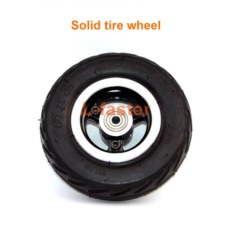 6 Inch Electric Scooter Wheel 6x2 Wheel With Air Tire Or Solid Tire Metal Hub With 608 Bearings 8mm Axle Hole Trolley Cart Wheel