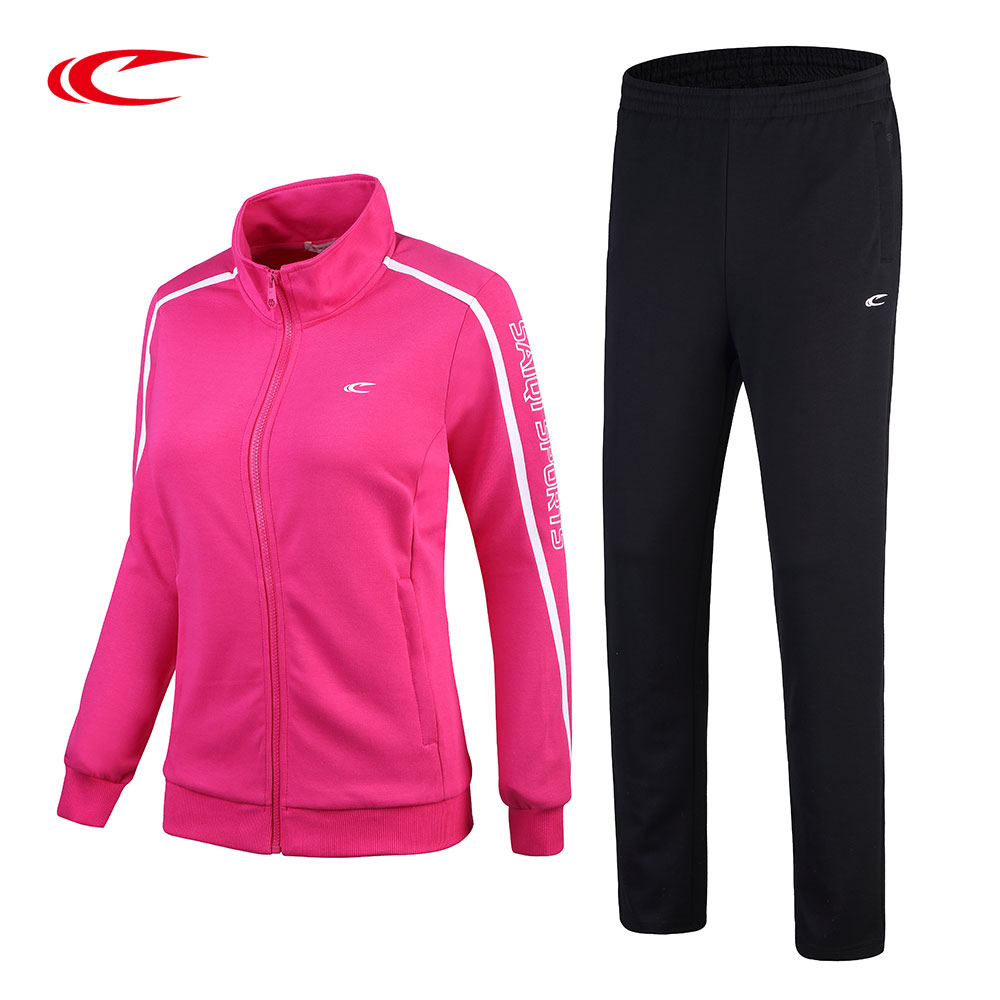 SAIQI Women Sportswear Suit Jogging Outerwear Sets Outdoor Coat Suits Female Running Knitted Cardigan&Pants Women Tracksuits