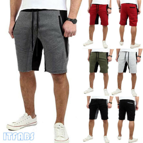 2019 Stylish Hot Sale Mens Summer Color-stitching Lace-up Shorts Men Gym Fitness Bodybuilding Sports Casual  Loose Shorts M-XXXL