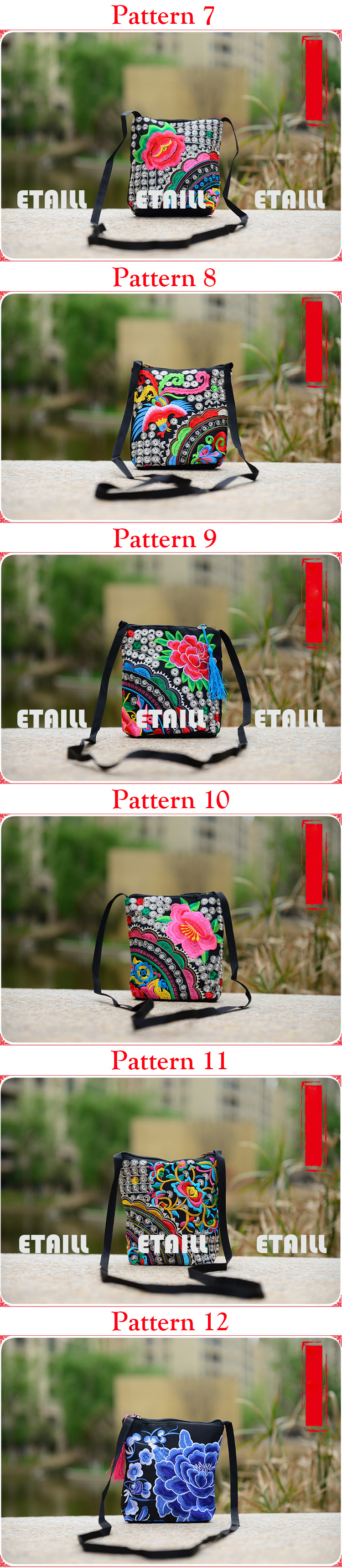 canvas embroidered shoulder bag small