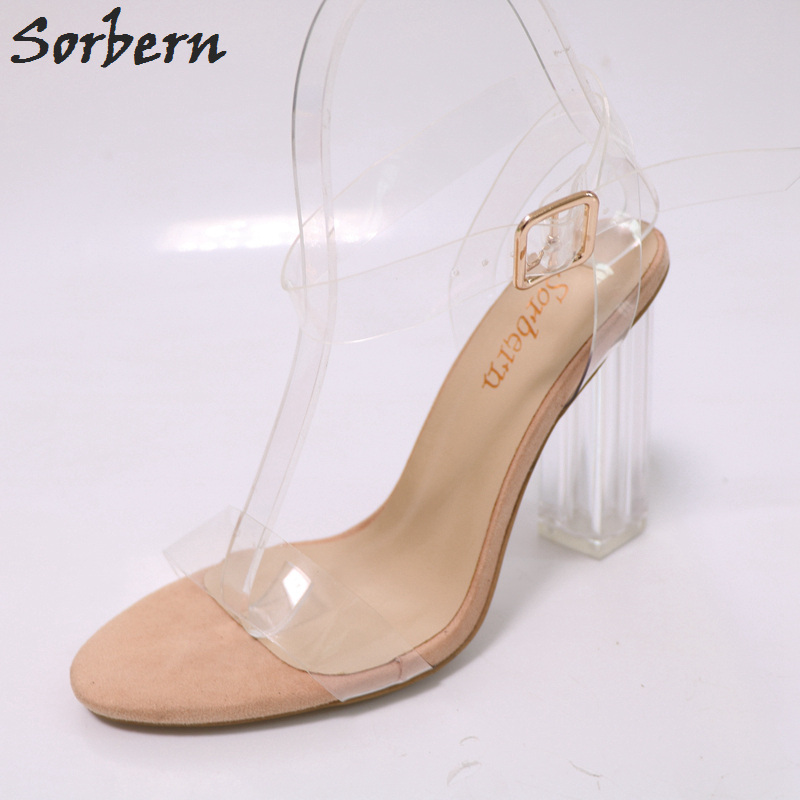 Sorbern See Through Pvc Sandals For Women Summer Shoes Slingbacks Sandals Square Perspex Heels Custom Colors Ladies Heels 2018 sorbern see through pvc women slippers flat shoes women summer ladies slipper hot fashion summer sale slides diy yellow sandals