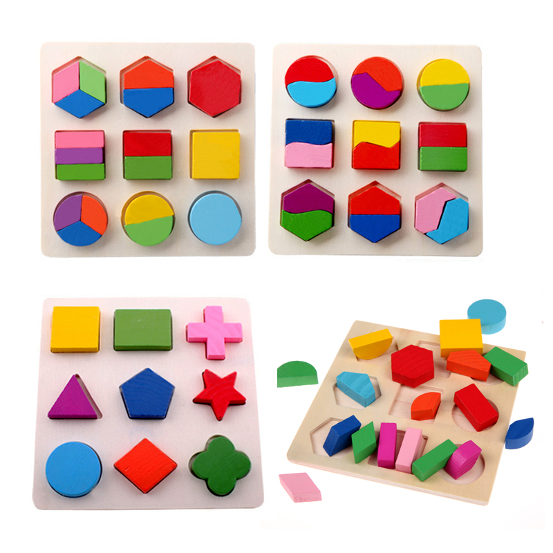 Дети 3D головоломки деревянные игрушки красочные геометрические формы познания деревянные головоломки Дети раннего обучения образователь...