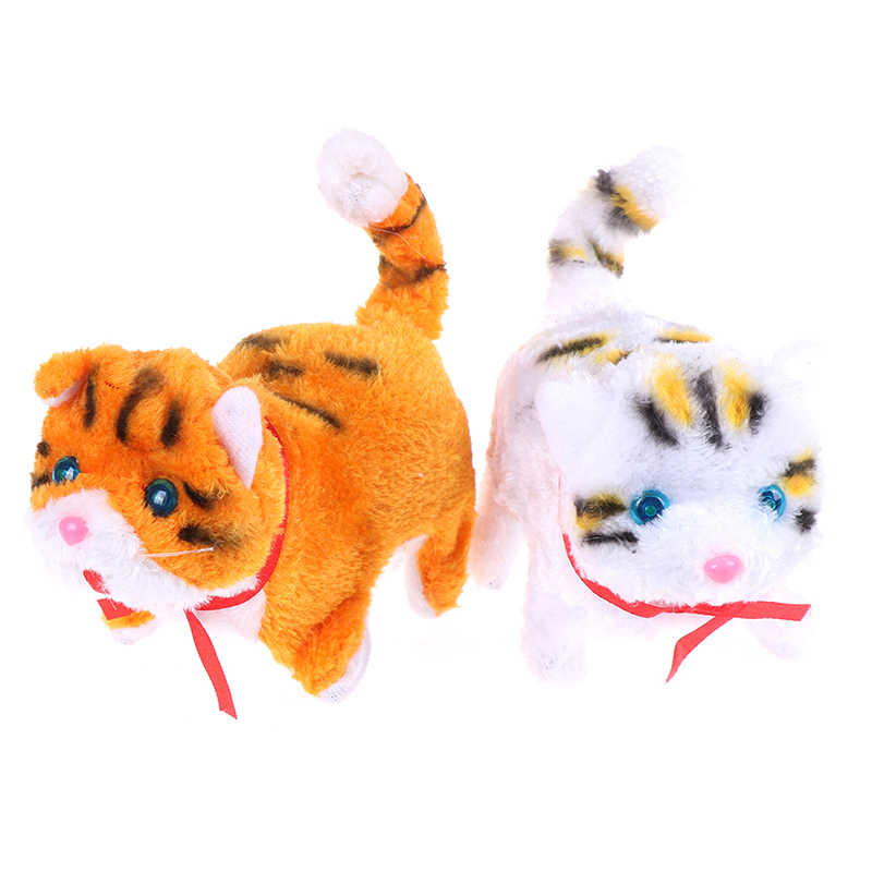 새해 크리스마스 완구 어린이를위한 선물 전자 애완 동물 전기 고양이 걷기 짖는 소리 뮤지컬 대화 형 로봇 고양이
