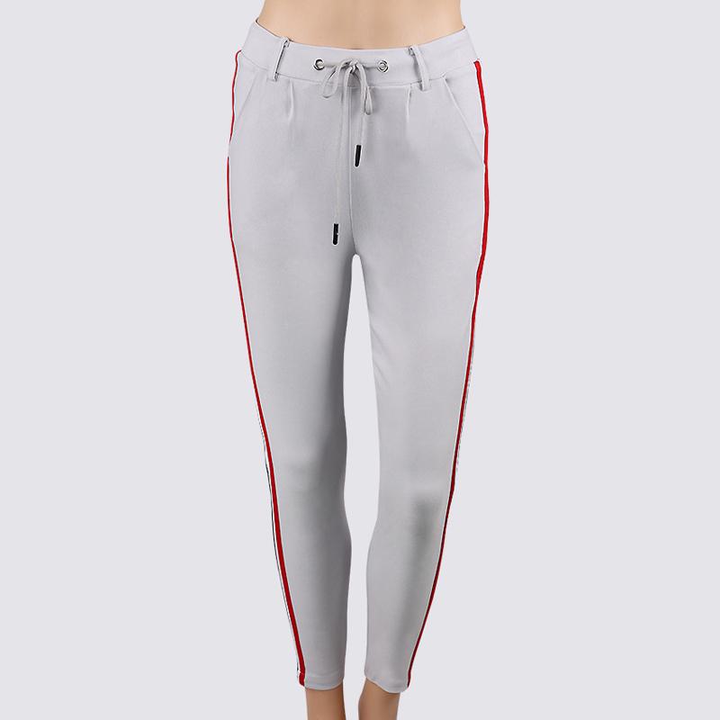 HTB1MX5ccjqhSKJjSspnq6A79XXad - FREE SHIPPING High Waist Knit Red Striped Sideseam Sweatpants JKP257