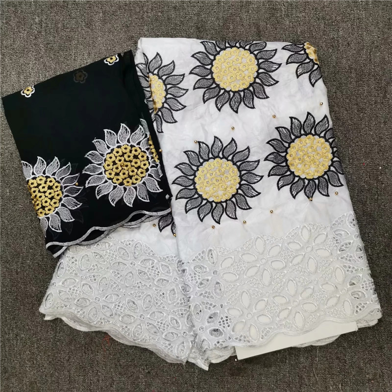 2019 New arrival Stone african Bazin riche getzner fabric with embroidery lace bazin riche dress material