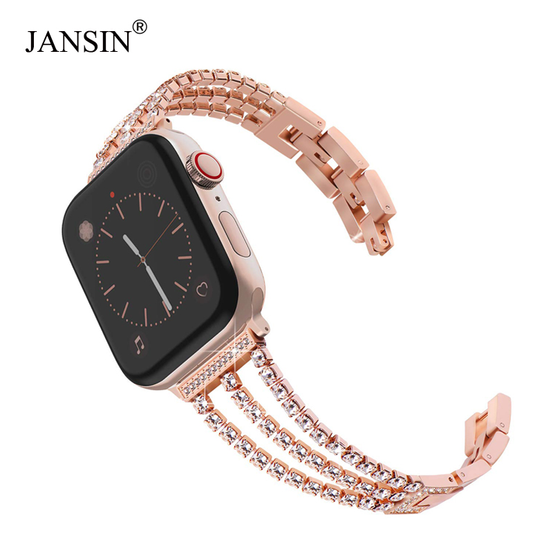 JANSIN New Women Diamond Watch Band for Apple Watch 38mm 42mm 40mm 44mm iWatch Series 4 3 2 Stainless Steel strap Sport BraceletJANSIN New Women Diamond Watch Band for Apple Watch 38mm 42mm 40mm 44mm iWatch Series 4 3 2 Stainless Steel strap Sport Bracelet