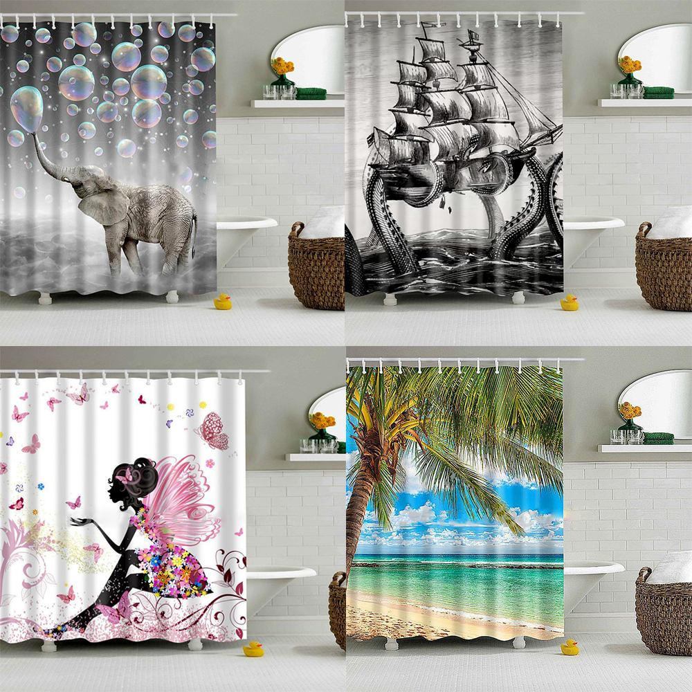 Mustache shower curtain - Shower Curtain Bathroom Curtains Waterproof Bath Curtain With Swimming Pool Personalized Funny Shower Curtain 3d Printing