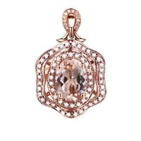 Solid 14K Rose Gold Natural Diamonds Pendant Party 7x5mm Oval Morganite Elegant Pendant Trendy Women Fine