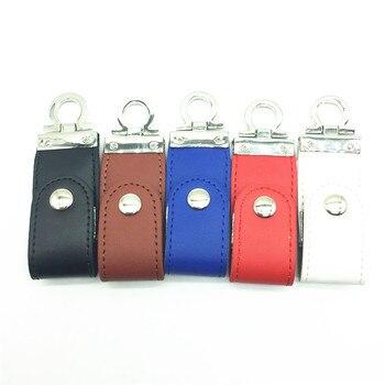 High Quality Genuine Leather Pen drive USB 2.0 usb flash drive memory stick with Car / Key Chain 64gb 32gb 16gb 8gb 4gb gift