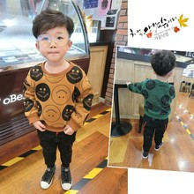 2017 Childrens Boys loose cotton cashmere sweater plus plus baby hoodies children cotton long sleeved tide