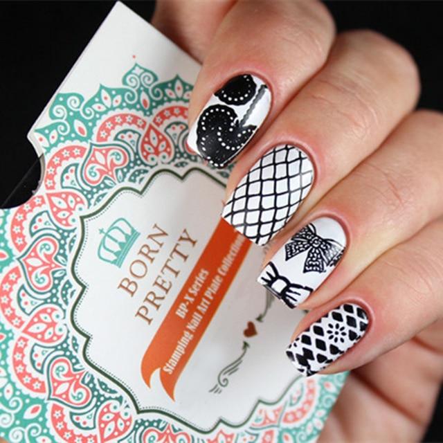 BORN PRETTY Lace Design Bownot Nail Stamp Template 6*6cm Square ...