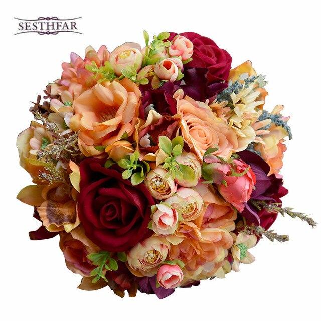 Silk Wedding Flower Dahlia Bouquet Wild Flowers Bridesmaid Bouquets Roses Orange Accents 3PCs SET Bridal