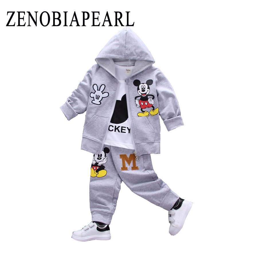 Baby Clothing Set Boys Spring Autumn Clothes Girls Sports Suits Windproof Hoodies Open Stitch Jacket O-Neck T Shirt + Long Pants