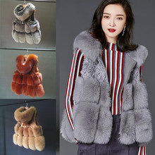 ETHEL ANDERSON Women's Real Fox Fur Vest Hoodie Gilet Thick Fur Coat Waistcoat Genuine Sheep Skin Vest Zipper Style(China)