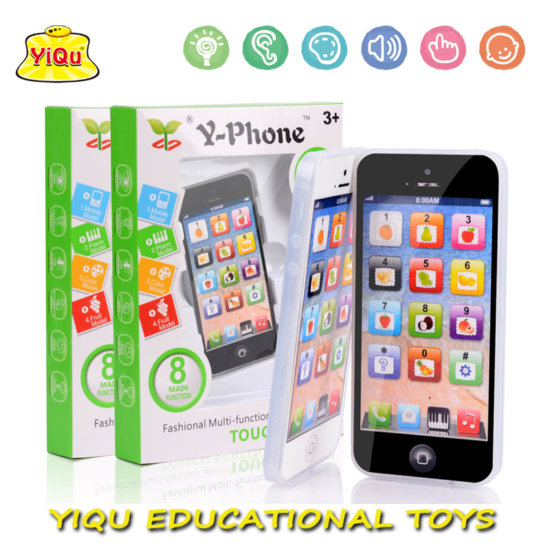New Kids Child YPhone Music Mobile Phone Study Educational Toy English Touch Learning machine Children fun toys with LED Light