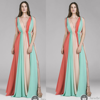 Arabic Evening Gowns Floor Length V Neck Pleats Sexy Backless Colors A Line Chiffon Long Pleats