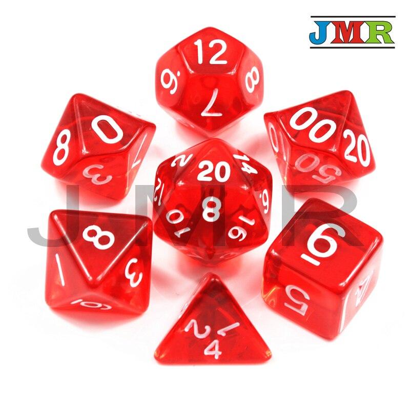 Высокое качество для 7 шт./компл. из прозрачного богатый Цвет многогранник Rpg Dnd игровые кости набор D4-D20 для Настольная игра