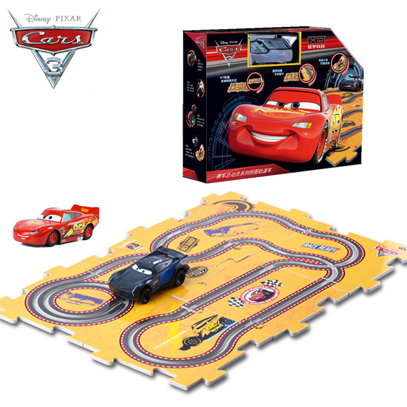 Disney Pixar Cars 3 Kids Birthday Gift New Lightning Mcqueen One Electric Slot Car Toy with 6pcs DIY Tracks for Children Boys