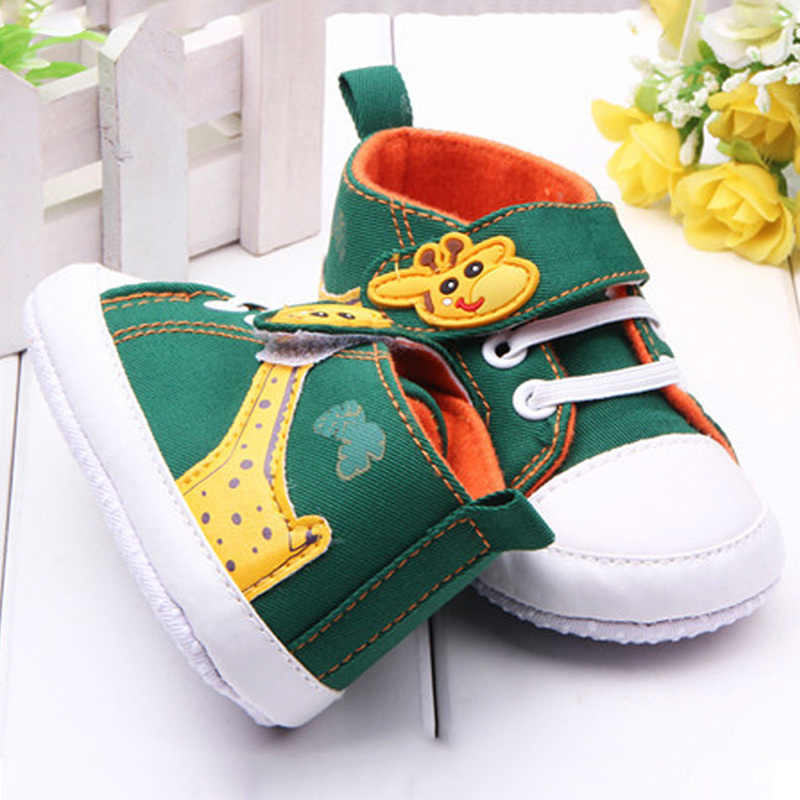 בני תינוק נעלי נעל בד אנטי להחליק Cartoon ג 'ירפה מודפס גבוהה בלעדי רכות תינוק Prewalker