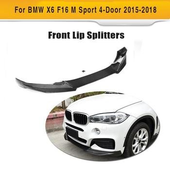 Carbon Fiber Front Bumper Lip Spoiler Chin Protector for BMW X6 F16 M Sport M Tech Bumper 4-Door 2015 2016 2017 2018 Year image