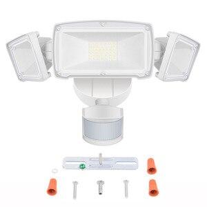 Image 4 - 230V Drei Kopf Solar Licht Radar Sensor Scheinwerfer Wasserdichte Im Freien Solar Garten Licht Super Hellen Hof Flut LED Lampe