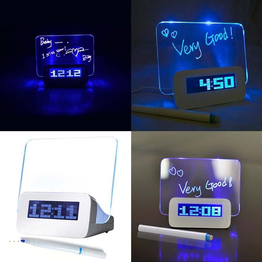 Hot LED Luminous Message Board Alarm Clock With Calendar, Luminova LED Digital Clock, Desktop Clocks Despertador A609 APJ