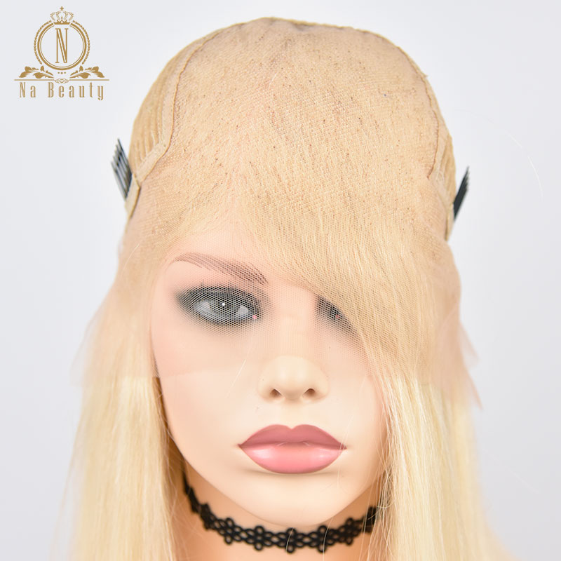 613 Short Bob Wigs 1B 613 Ombre Honey Remy Pre Plucked Straight 13x6 Blonde Lace Front Human Hair Wig for Women Natural Black