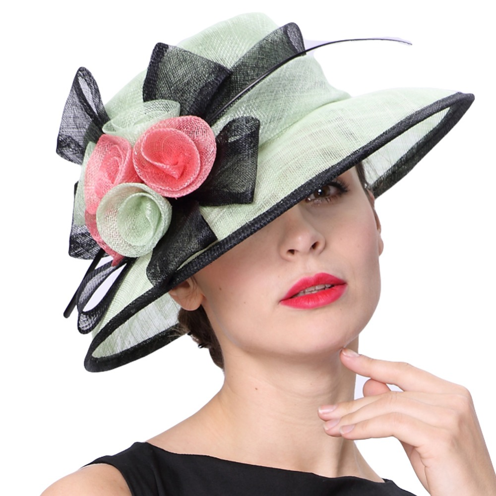 June s Young Women Hats Colorful Floral Pattern Elegant Lady Fashion Summer Sun Hats Fresh Mint